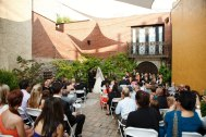 Ceremony held at Artesano's outdoor courtyard.