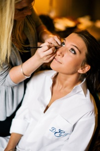 Demetra getting her make up done by DUO Make Up Artistry. I love her pink crystal encrusted heels