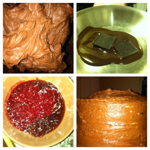 (L) top - chocolate frosting, (R) top - melting of baking chocolate, (L) bottom - Raspberry preserve , (R) bottom - finished cake