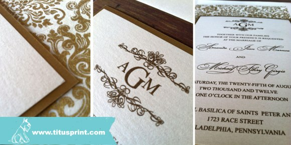 Gold and ivory double layered invitation with handmade paper detail