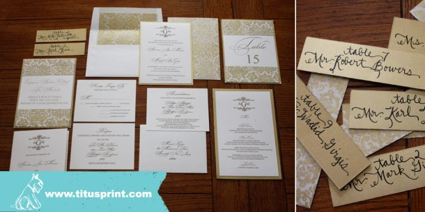Complete wedding stationery - Ivory and Gold