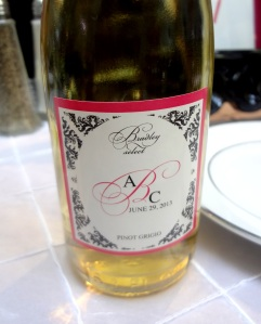 bottle of Pinot gift customized with Angela and Chris' monogram( Chris made all the wine himself)!