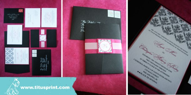 I love the finished invitation, complete with double layer belly band and monogram
