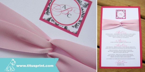Custom double layered menu card with matching satin ribbon