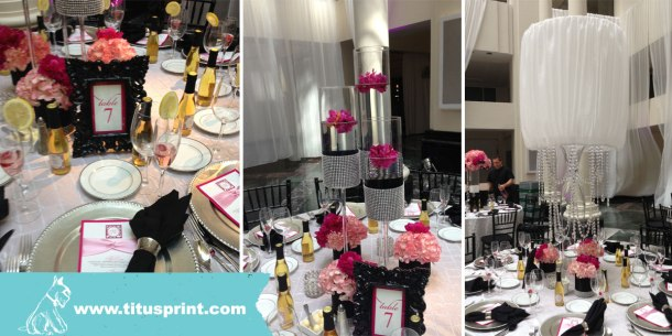 3 tablescapes with table signs, menu cards and wine bottles