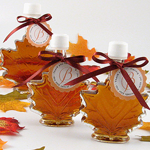 Glass Leaf Maple Syrup Favors