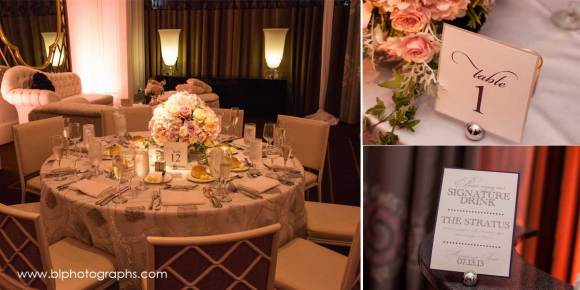 Lush pink hued centerpieces