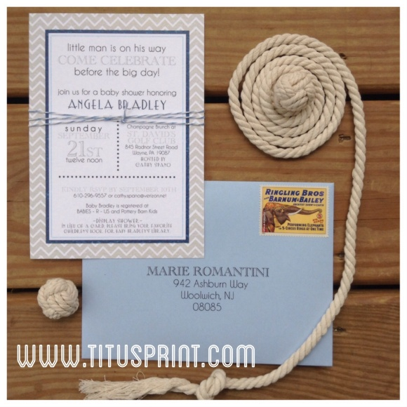 Baby Bradley is on his way! Cute nautical inspired baby shower invite
