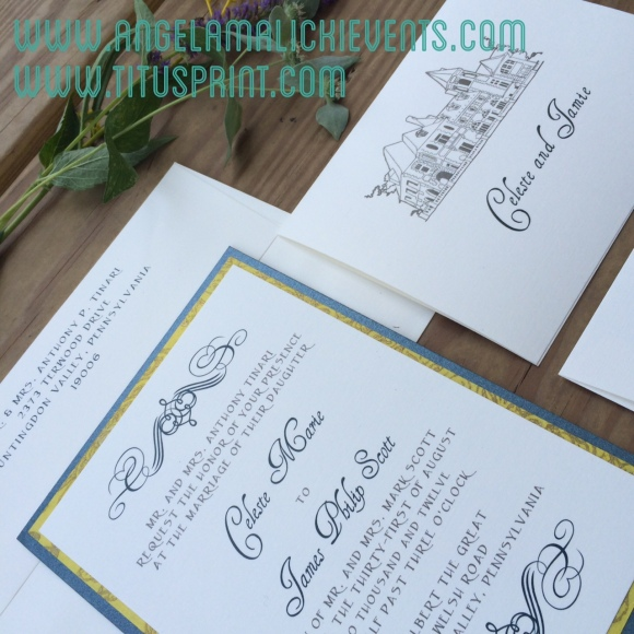 Upclose look of Celeste and Jamie's Cairnwood Invitation. Photo by Angela MALICKI events for Titus Print.