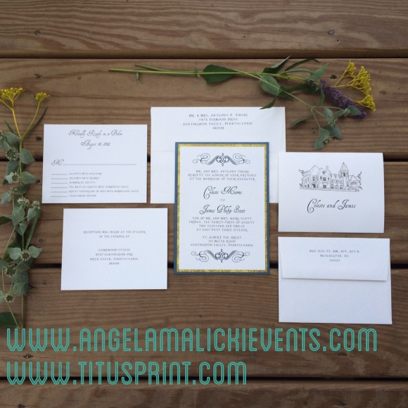 Custom Triple layered invitation with hand drawing of Cairnwood