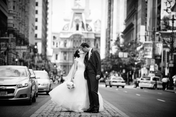 Couple on Broad Street in front of City Hall - Photo by Joe Foley Photography