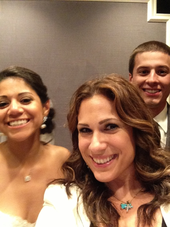 Ang and couple on the elevator  heading to the ballroom - selfie time! photo by Angela MALICKI events