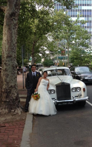 The couple was transported around the city in an old fashioned Rolls Royce through Classic British Limo company.